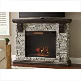 Home Decorators Collection Highland 50 in. Faux Stone Mantel Electric Fireplace in Gray