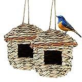 Hywean 2 Pezzi Casetta per Uccelli, da Appendere, Nido per Uccelli Fatto a Mmano, Adatto per Piccoli Uccelli Come Colibr, Cince