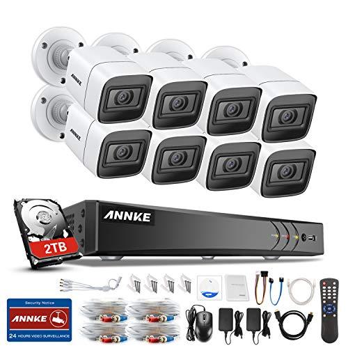 ANNKE Videovigilancia TVI DVR 8 canales Cámaras Ultra HD 4K H.265 y 8 × 4K HD con visión nocturna LED IR Alerta por correo electrónico EXIR con instantáneas Acceso remoto 2TB