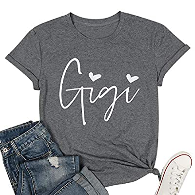 👕PREMIUM FABRICS: These comfy gigi shirts are made of cotton blend, cotton has fine permeability which keeps you cool&dry, soft touch, breathable, comfortable to skin. 🌞FASHION DESIGN: Cute heart gigi graphic front design t shirts for grandma, fashio...