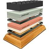 Premium Knife Sharpening Stone Set – 400/1000 and 3000/8000-Grit Professional, Safe Knife Sharpener Set – Whetstone Set Includes Flattening Stone, Bamboo Base, and 2 Nonslip Rubber Bases
