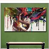 Pintura De La Lona 60x80cm Sin Marco Wlong Love Kiss pintura al óleo pinturas para la pared de la sala de estar amor cuadros decorativos pared moderna pintura de arte abstracto