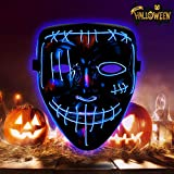 Halloween Mask LED Purge Mask Light Up Scary Mask for Festival Parties Cosplay Costume Blue