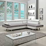 Divano Roma Furniture Modern Contemporary Designed Two Tone Microfiber and Bonded Leather Sectional Sofa, Large, White/Grey