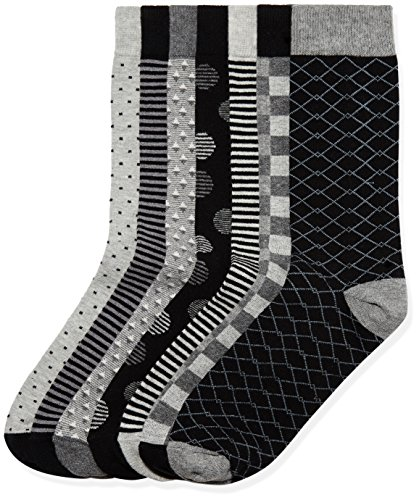 Marchio Amazon - find. 7 Pack Ankle Sock, Calze Uomo, Nero (Grey Black Mix), 39-43.5 EU, Label:...