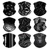 VCZUIUC Multifunctional Headwear, Magic, Neck Gaiter, Seamless Bandana for Motorcycle, Fishing, Head Wrap, Scarf, Balaclava, Multi Use for Men (9PCS Black-2)