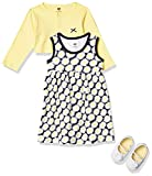 Hudson Baby Baby Girls' Cotton Dress, Cardigan and Shoe Set, Daisy, 12-18 Months