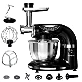 Aifeel Stand Mixer 1000W, 7QT Bowl , 7 in 1 Multifunctional Kitchen Mixer with Dough Hook, Whisk, Beater, Meat Grinder, Sausage Stuffer, Pasta & Cookie Maker-Black