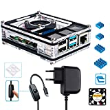 Miuzei Raspberry Pi 4 Case with Fan Cooling 3 × Aluminium Heatsink 5V 3A USB-C Power Supply with On/Off Switch Compatible with Raspberry Pi 4 Model B With USB-C power supply