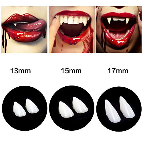 CPSYUB Cosplay Vampire Fangs, Cosplay Accessories Halloween Party Prop Decoration Fake Vampire Teeth, Werewolf Fangs Vampire Dentures for Kids / Adults (3 Pairs)