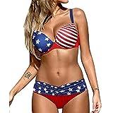 Maillot de bain Bikini drapeau américain, maillots de bain 2 pièces femmes drapeau américain imprimé Sexy Push Up et soutien-gorge séparé, maillot de bain du 4 juillet pour les femmes (XXXL)