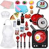 Anpro 32 PCS Kit de Cocina para Niños,Juguetes de Cocina Set,Juego de Cocina con Utensilios de...