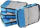 AmazonBasics Lot de 4sacoches de rangement pour bagage TailleL, Bleu