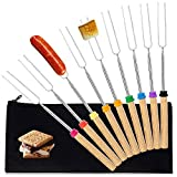 Marshmallow Roasting Sticks, Smores Skewers for Fire Pit, Set of 9 Extend 32' Stainless Telescoping...