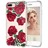 iPhone 8 Plus Case, iPhone 7 Plus Clear Case, MOSNOVO Red Rose Blossom Clear Design Transparent Printed Plastic Back Case with TPU Bumper Case Cover for iPhone 7 Plus/iPhone 8 Plus