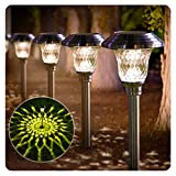 BEAU JARDIN Solar Pathway Lights 8 Pack Supper Bright Up to 12 Hrs Landscape Stake Glass Stainless Steel Waterproof Auto On/off Sun Powered Garden Lighting for Yard Patio Walkway Outdoor Spike