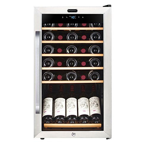 Whynter FWC-341TS 34 Bottle Freestanding Wine Refrigerator with Display Shelf and Digital Control, Stainless Steel,...
