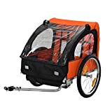 Aosom 2-Seat Kids Child Bicycle Trailer with a Strong Steel Frame, 5-Point Safety Harnesses, & Comfortable Seat, Orange