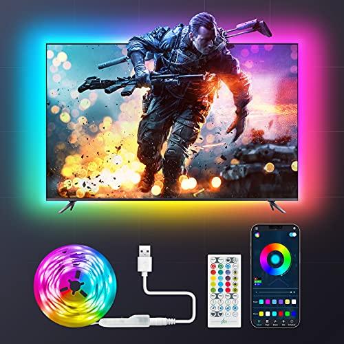 Maxsure Striscia Led 2 Metri, USB Led TV Retroilluminazione RGB, Striscia TV 2M con telecomando, Controllo APP, 8 Modalit Musica, 16 Milioni Colori, Luci Led Kit TV per TV da 40-60 Pollici PC Monitor