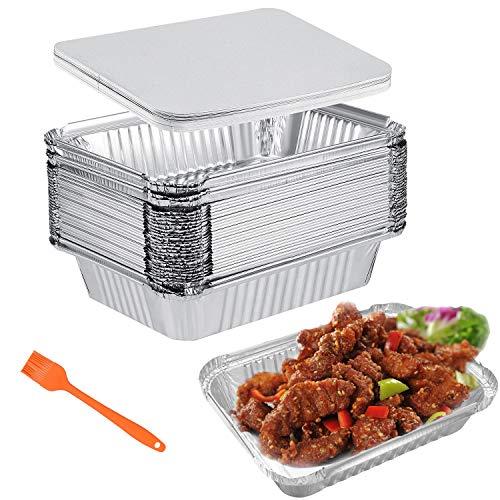 Vaschette Alluminio con Coperchio,Teglie Alluminio Usa e Getta,BBQ Teglia Monouso Contenitori 30 Grandi Vaschette per Alimenti 1000ml Perfette per Cottura al Forno Arrostire e Cucinare