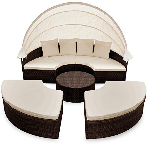 Casaria XXL Poly Rattan Sonneninsel Ø 230cm I mit Dach & Tisch I 7cm Dicke Auflagen + 4 Kissen I Braun - Lounge Liege Sitzgarnitur Gartenmöbel Set