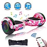 UNI-SUN Fun Series Hoverboard for Kids, 6.5' Self Balancing Hoverboard with Bluetooth and LED Lights, Bluetooth Hover Board, Camo Pink