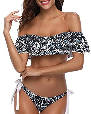 This bikini swimsuit features with a slightly padded bras for support and shape without see-through. Ruffled flounce swim top with cute floral print, bandeau off shoulder design makes your bust seem wider, drawing attention to the bust. Low rise tria...