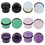"""PunkTracker 6Pairs 4g-11/16"""" Multiple Stone Single Flared Ear Plugs with Silicone O-Ring Expander Gauges"""
