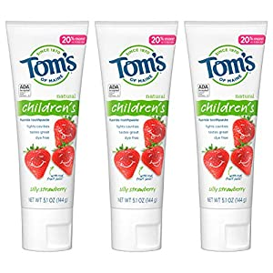 Tom's of Maine Anticavity Fluoride Children's Toothpaste, Silly Strawberry, 5.1 Oz, 3 Pack, 15.3 Oz
