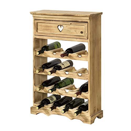 [en.casa] Mobile Portabottiglie con Cassetto 86 x 55 x 22 cm Cantinetta in Legno di Pino per 16 Bottiglie Bancone Portabottiglie da Vino con 4 Ripiani in Design Classico