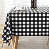 Oilcloth Tablecloth Vinyl Picnic PVC Wipeable Plastic Spillproof Peva Waterproof Oil Proof Farm Shabby Chic Heavy Duty Rectangle Tablecloths Black and White Checked 7ft 54x84 Inch