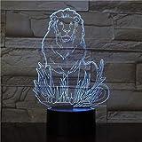 Lámpara de mesa FeMale Lion 3D, lámpara de mesa de 7 colores, decoración del hogar, luz nocturna, visualización increíble, ilusión óptica, luz nocturna