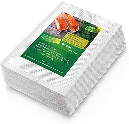 BoxLegend Sacchetti Sottovuoto Alimenti, 100 sacchetti 20x30 cm per la Conservazione Degli Alimenti e Cottura Sottovuoto, Senza BPA, LFGB Approvato, Compatibile con Qualsiasi Macchina per Sottovuoto