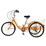 R.ROARING Adult Tricycles 7 Speed, Adult Trikes 24inch 3 Wheel Bikes, Three-Wheeled Bicycles Cruise Trike with Shopping Basket for Seniors, Women, Men, Orange