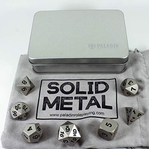 Paladin Roleplaying Silver Metal Dice - Full Polyhedral Set - in Presentation...