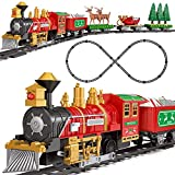 FUN LITTLE TOYS 30 PCs Electronic Classic Railway Train Set Includes 17 Tracks, 1 Locomotive, 4 Carriages, 6 Trees and 2 Elks, Batteries Operated Toy Train Set with Light and Sound, for Boys & Girls