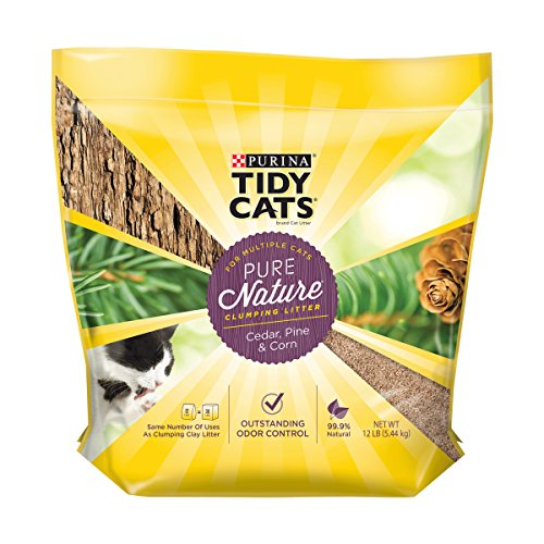 Purina Tidy Cats Natural Clumping Cat Litter, Pure Nature Cedar, Pine & Corn Cat Litter - 12 lb. Bag