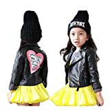 LJYH Girls Leather Motorcycle Jacket Children's PU Love Coat T3-4 Black