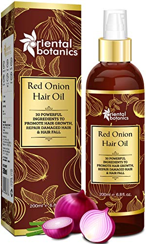 Oriental Botanics Red Onion Hair Oil, 200ml - With 30 Oils & Extracts, Argan Oil, Castor, Bhringraj, Almond Oil (No Mineral Oil)