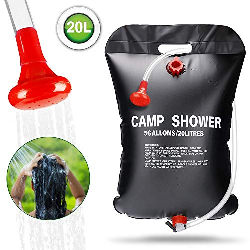 ASANMU Solardusche Camping, 20L Campingdusche Solar Tasche Tragbare Camping Dusche Outdoor Gartendusche Warmwasser Duschsack Solar Heizung Wandern Wassersack Shower Reisedusche mit Duschkopf Schlauch