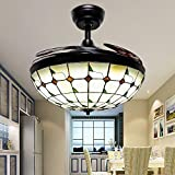 Huston Fan Modern Retractable Ceiling Fan Light for Indoor Dining Room Restaurant Bedroom Tiffany Remote Ceiling Fan with Light,3 Color Changing Chandelier Fan-3 Down Rod,42 Inch Black