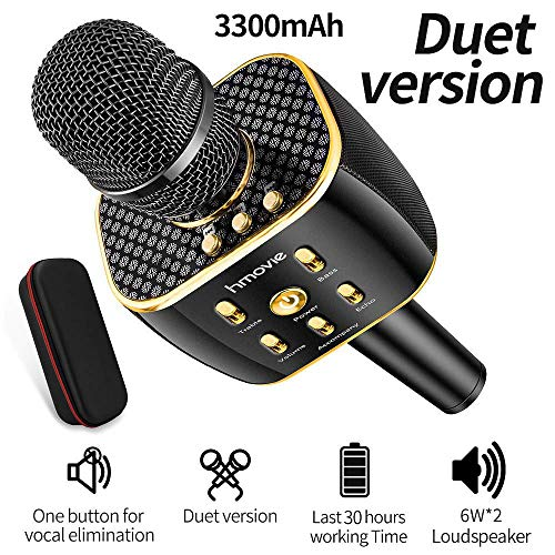 hmovie 3300mAh Wireless Karaoke Microphone w/12w Hi-Fi Bluetooth Speaker Player for Apple iPhone Android Smartphone or PC 14
