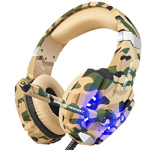 BENGOO Stereo Gaming Headset for PS4, PC, Xbox One Controller, Noise Cancelling Over Ear Headphones Mic, LED Light, Bass Surround, Soft Memory Earmuffs for Laptop Mac Nintendo Gamecube Camouflage