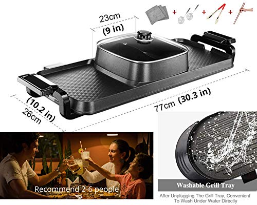 Product Image 3: Soup N Grill V2 Hotpot Grill Combo, Indoor Korean BBQ, Shabu Shabu Electric Hot Pot with Divider, Portable with Free Strainer Scoops, Extra Long Chopsticks, Tongs, Cloths, Smokeless Grill