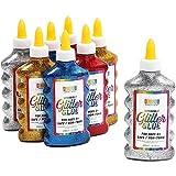 Bottigliette di Colla Glitter Colorata, 4 Colori Arcobaleno (200 ml, 8 confezione).