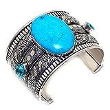Opalgemstore Arizona Turquoise, Blue Topaz 925 Sterling Silver Cuff Bracelet Adst. JP-1962