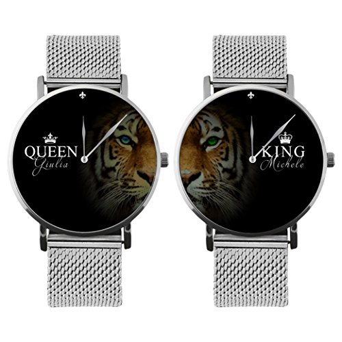 Coppia Di Orologi Da Polso Personalizzati You And Me King & Queen Tiger Name