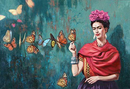 Bordado De Diamantes 5D DIY Mosaico De Diamante Frida Kahlo Y Mariposa Pintura Diamante Rhinestone Kits De Punto De Cruz Decoración del Hogar 40X50CM