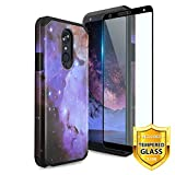 TJS Phone Case for LG K40/K12 Plus/X4/Solo LTE/Harmony 3/Xpression Plus 2, with [Full Coverage Tempered Glass Screen Protector] Dual Layer Hybrid Shockproof Impact Rugged Armor Cover (Stardust)