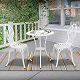 Laurel Canyon 3-Piece Cast Aluminum Patio Bistro Sets Antique Copper Finish Outdoor Furniture with Rust-Resistant Small Round Table and 2 Chairs for Porch, Lawn, Garden, Pool, Backyard, White